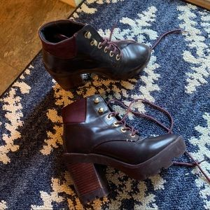 Aldo dark purple lace up booties